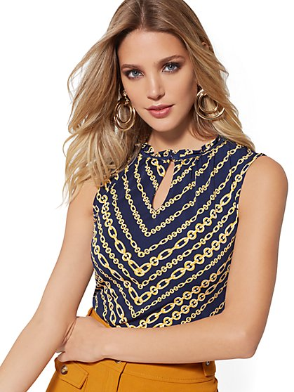 Navy Link-Print Ruffled Sleeveless Top - 7th Avenue - New York & Company