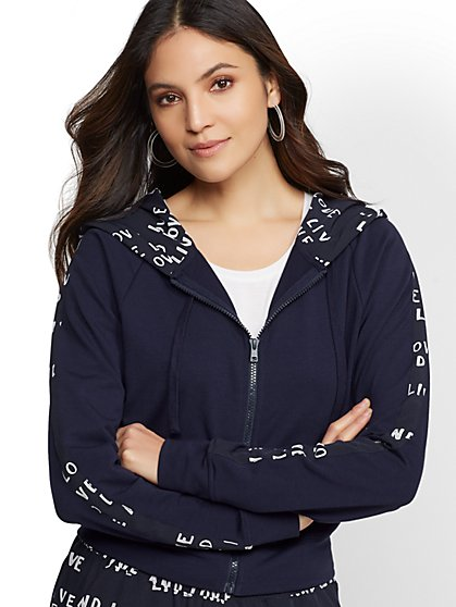 "Navy ""Live and Love"" Zip-Front Hooded Jacket - Soho Street - New York & Company"