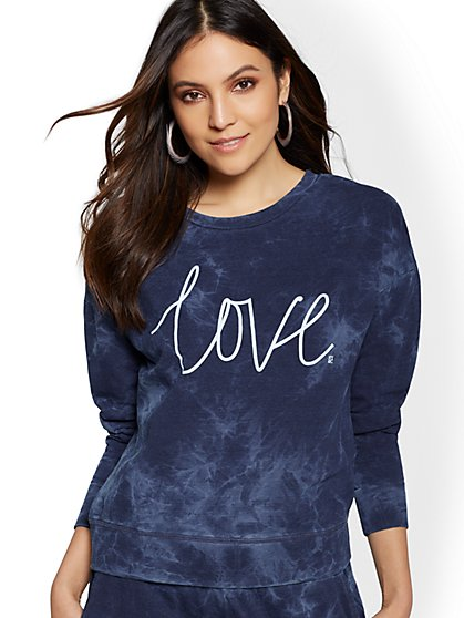 "Navy ""Love"" Tie-Dye Sweatshirt - Soho Street - New York & Company"