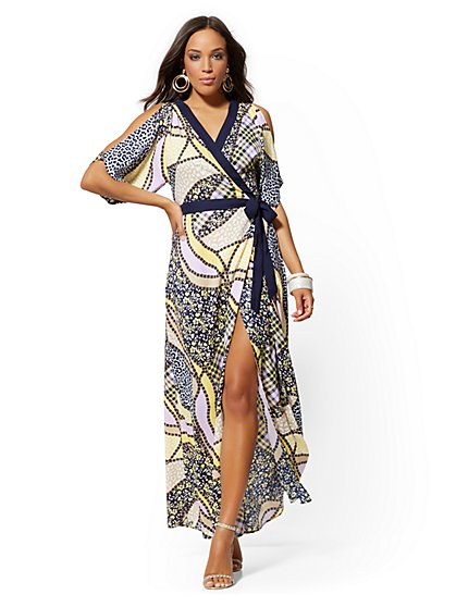 Navy Mixed-Print Wrap Maxi Dress - New York & Company