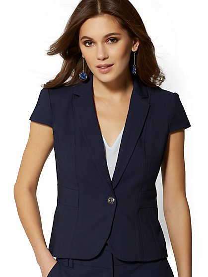 Navy One-Button Short-Sleeve Jacket - All-Season Stretch - 7th Avenue - New York & Company