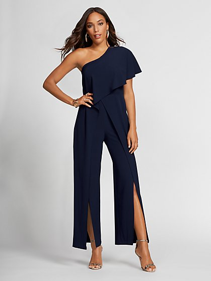 Navy One-Shoulder Jumpsuit - Gabrielle Union Collection - New York & Company