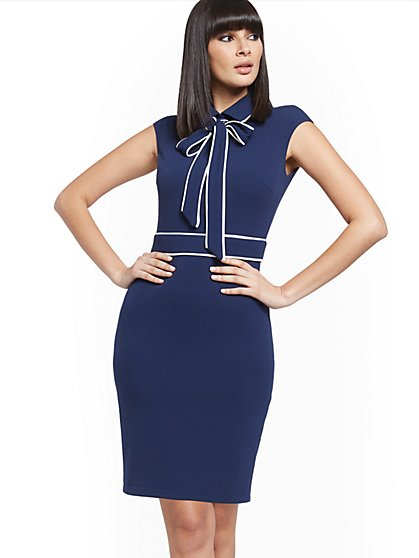 Navy Piped Sheath Dress - Magic Crepe® - New York & Company