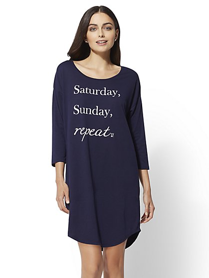 "Navy ""Saturday, Sunday, Repeat"" Sleep Shirt - New York & Company"
