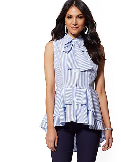 Navy Stripe Bow-Accent Peplum Poplin Shirt - New York & Company