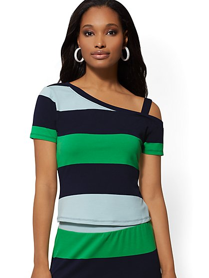 Navy Stripe Crop Off-The-Shoulder Top - Soho Street - New York & Company