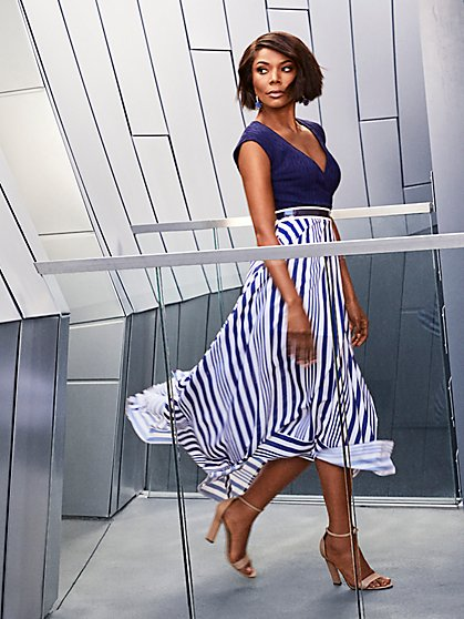 Navy Stripe Fit and Flare Dress - New York & Company