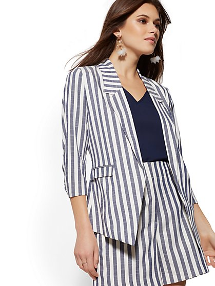Navy Stripe Open-Front Blazer - 7th Avenue - New York & Company