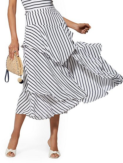Navy Stripe Tiered Ruffle Midi Skirt - New York & Company