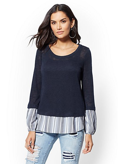 Navy Twofer Top - New York & Company