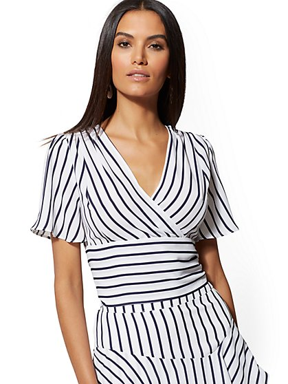 Navy & White Stripe Wrap Blouse - New York & Company