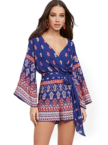 Navy Wrap Romper - New York & Company