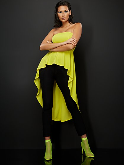 Neon Yellow Strapless High-Low Top - New York & Company
