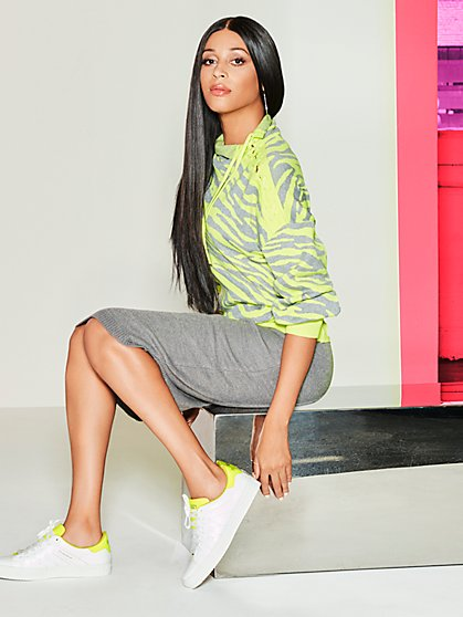 Neon Zebra Lace-Up Sweater - Gabrielle Union Collection - New York & Company