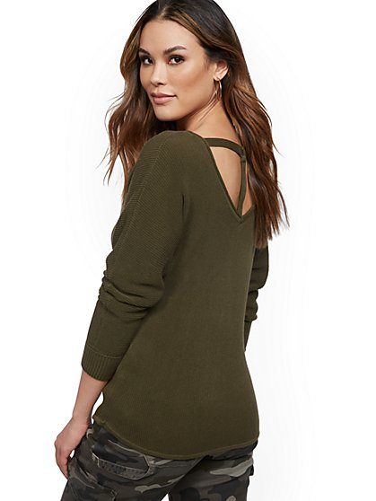 O-Ring Back Dolman Sweater - New York & Company