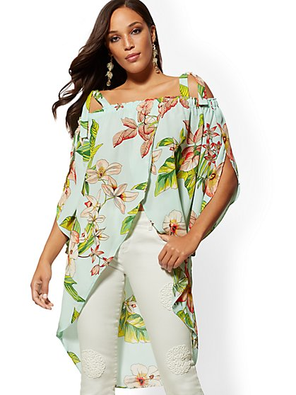 b13ee4a4e386d Off-Shoulder Hi-Lo Maxi Shirt - New York   Company ...