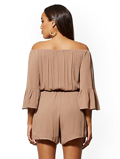 3ec5e22245b ... Off-The-Shoulder Belted Romper - New York & Company