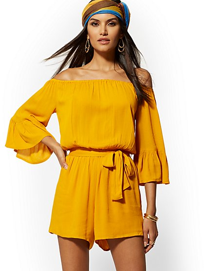 Off-The-Shoulder Belted Romper - New York & Company