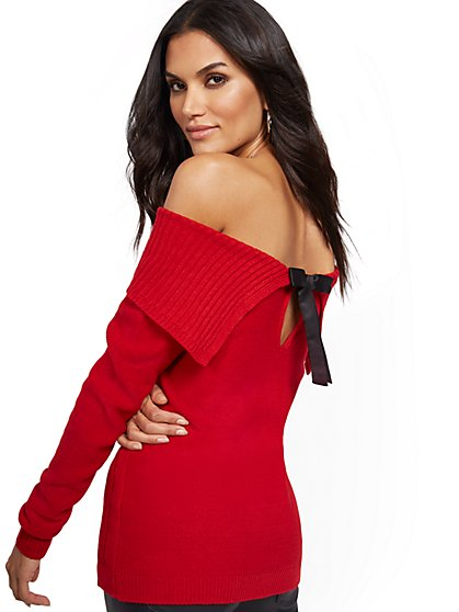 Off-The-Shoulder Bow-Back Sweater - New York & Company