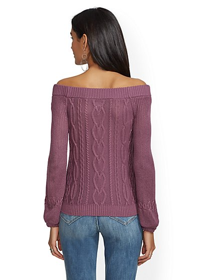 883bdb5897cb ... Off-The-Shoulder Cable-Knit Sweater - New York   Company ...