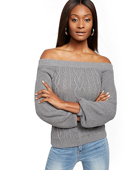 Off-The-Shoulder Cable-Knit Sweater - New York & Company