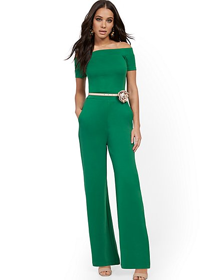 Off-The-Shoulder Cotton Jumpsuit - New York & Company