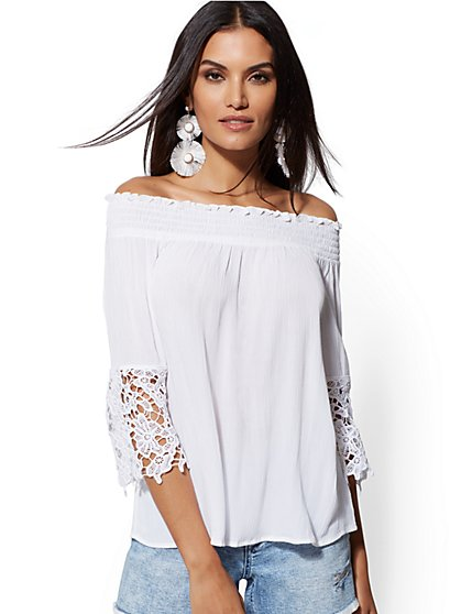 Off-The-Shoulder Crochet Bell-Sleeve Blouse - New York & Company