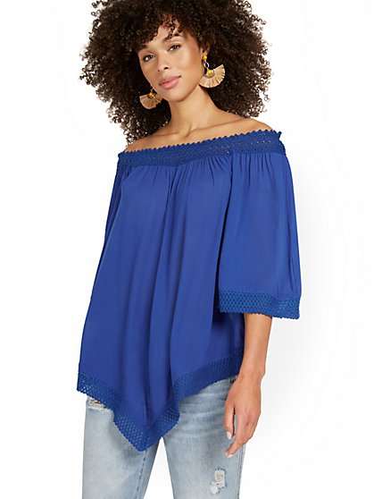 Off-The-Shoulder Crochet Tunic Top - New York & Company