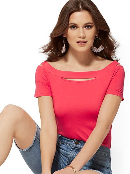 Off-The-Shoulder Cutout Top - Manhattan Tee - New York & Company