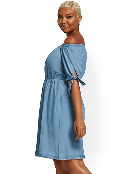 Off-The-Shoulder Denim Shift Dress - New York & Company