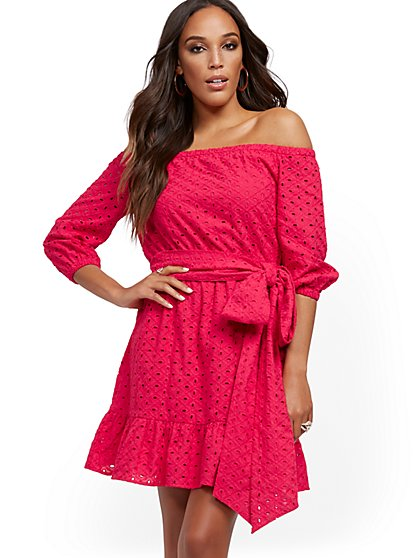Off-The-Shoulder Eyelet Shift Dress - New York & Company