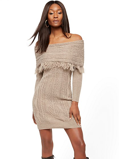 Off-The-Shoulder Fringe Sweater Sheath Dress - New York & Company