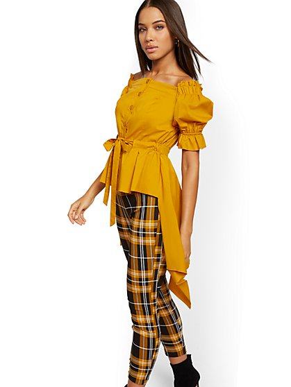 Off-The-Shoulder Hi-Lo Poplin Shirt - 7th Avenue - New York & Company