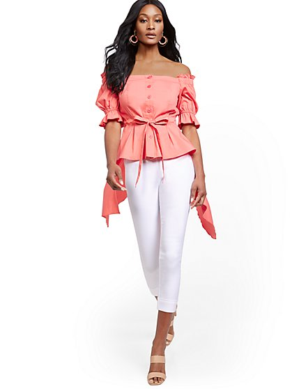 Off-The-Shoulder Hi-Lo Poplin Shirt - New York & Company