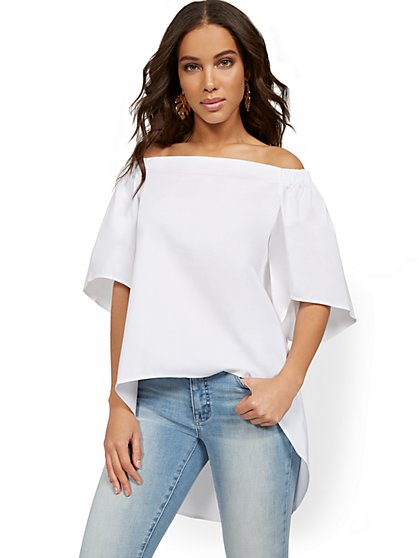 Off-The-Shoulder Hi-Lo Top - 7th Avenue - New York & Company