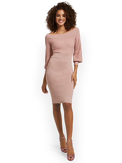 Off-The-Shoulder Metallic Sweater Sheath Dress - New York & Company
