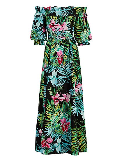Off-The-Shoulder Poplin Maxi Dress - New York & Company