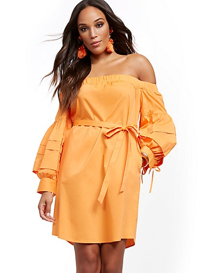Off-The-Shoulder Poplin Shift Dress - New York & Company