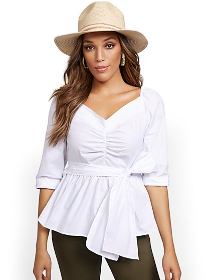 Off-The-Shoulder Poplin Shirt - New York & Company