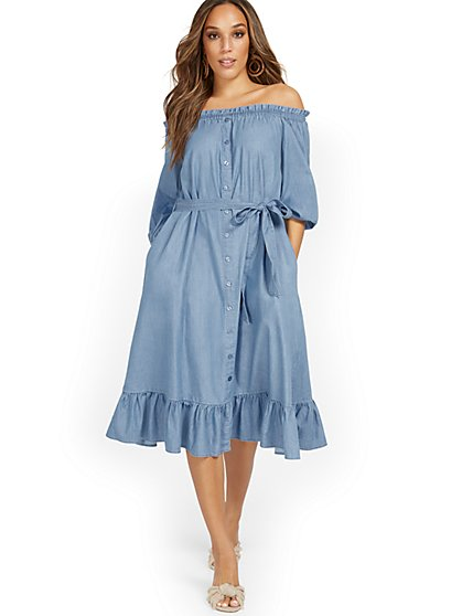 Off-The-Shoulder Ruffle-Hem Dress - New York & Company