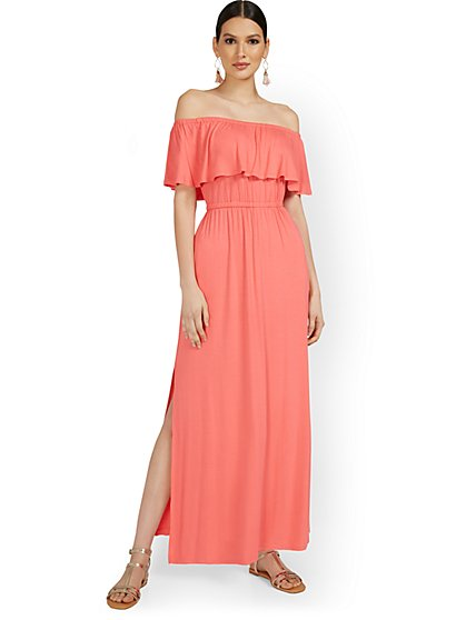 Off-The-Shoulder Ruffle Maxi Dress - New York & Company