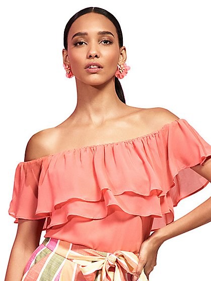 Off-The-Shoulder Ruffle Top - New York & Company