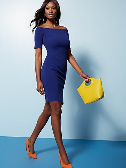 Off-The-Shoulder Sheath Dress - Magic Crepe® - New York & Company