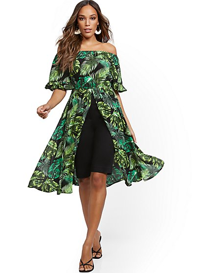 Off-The-Shoulder Statement Top - Palm Print - New York & Company