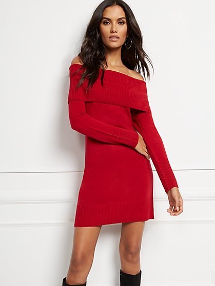 Off-The-Shoulder Sweater Dress - Soho Street - New York & Company