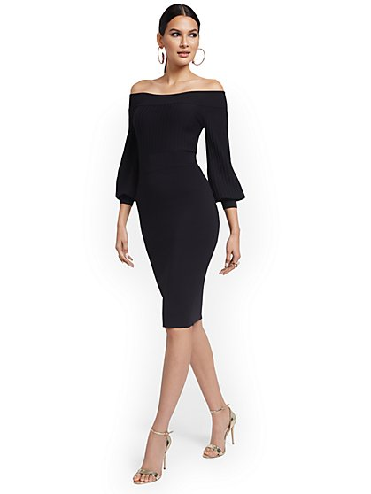 Off-The-Shoulder Sweater Sheath Dress - New York & Company