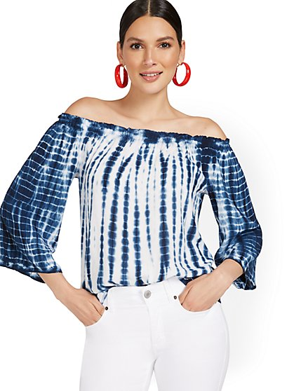 Off-The-Shoulder Tie-Dye Top - New York & Company