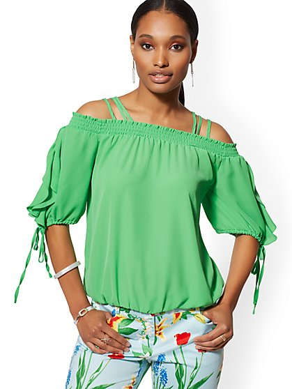 22bda1f64375e8 Off-The-Shoulder Tie-Sleeve Blouse - New York   Company ...