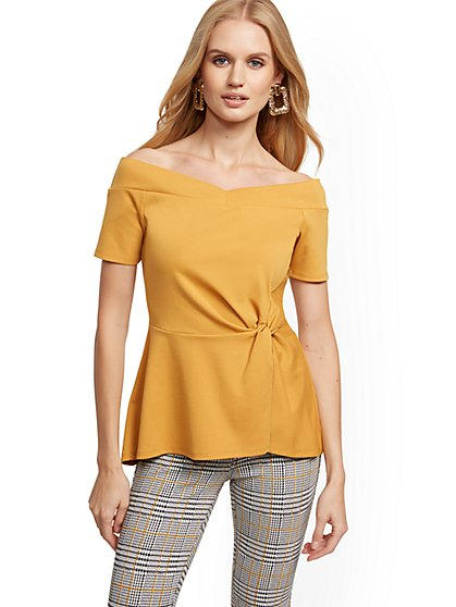 Off-The-Shoulder Twist-Front Top - New York & Company