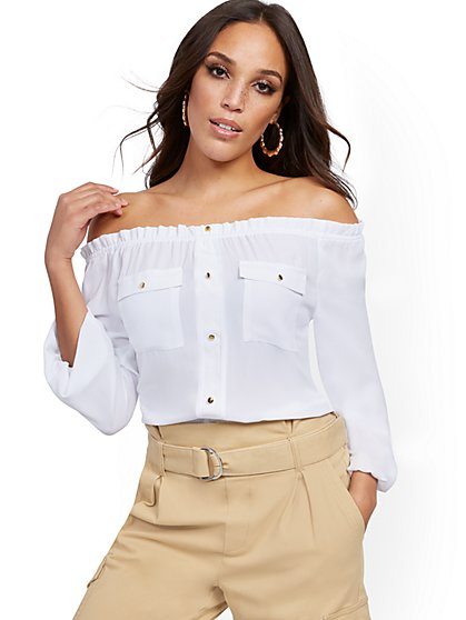 Off-The-Shoulder Utility Blouse - New York & Company